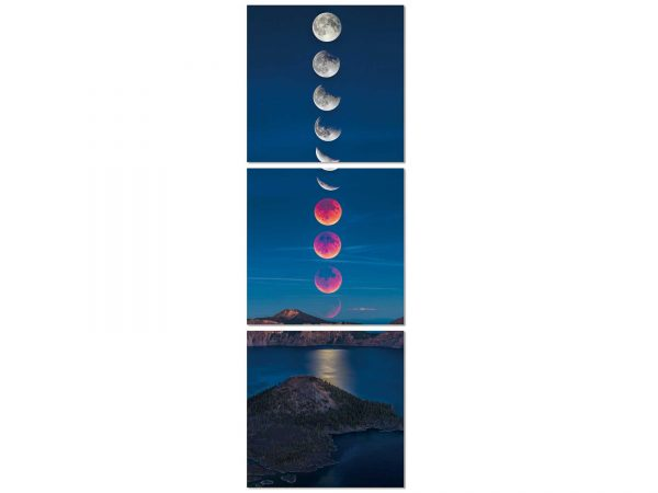 Beautiful 3-piece acrylic painting of an eclipse. This eye-catching painting will fit any design style.