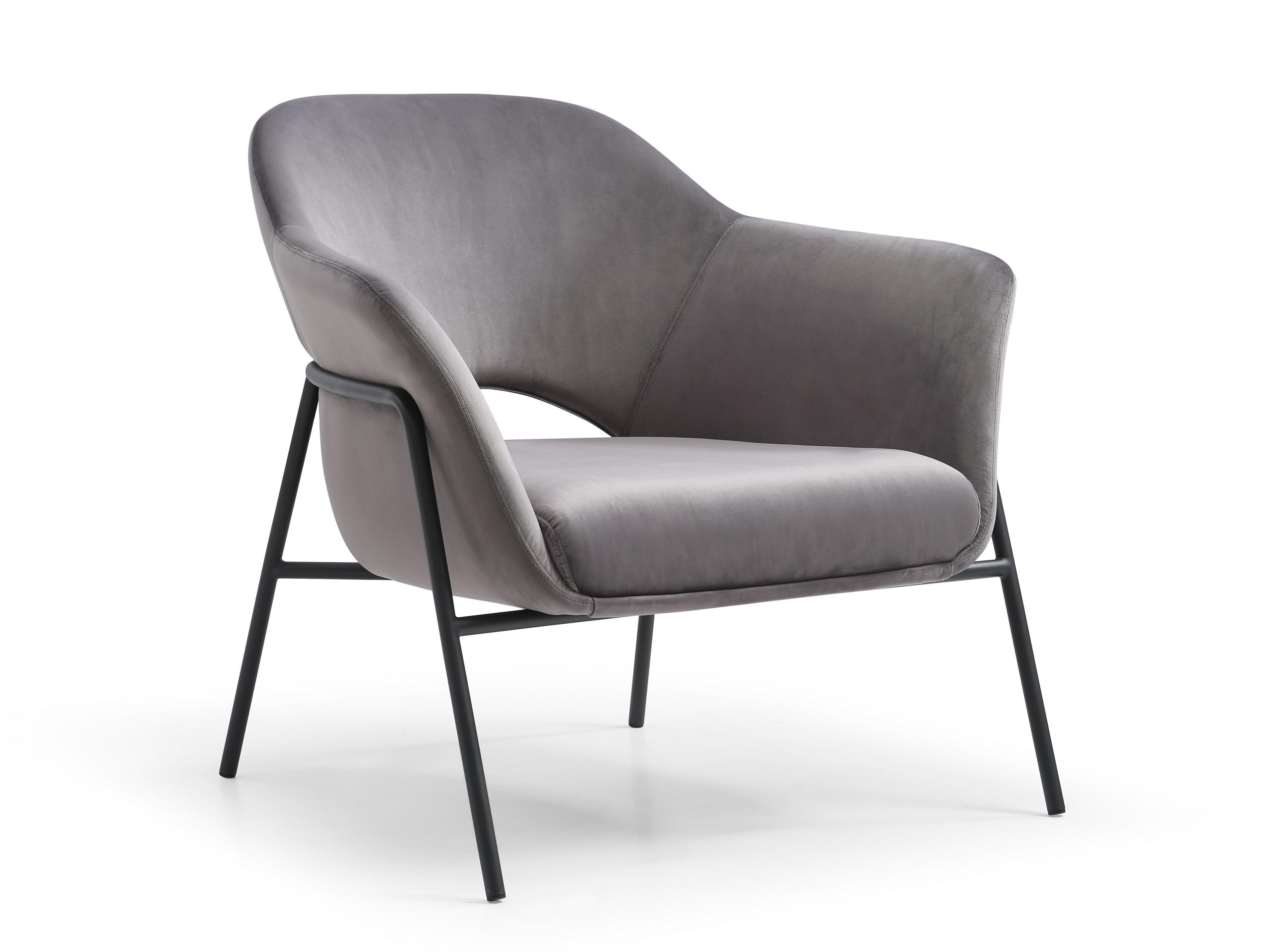Karla Leisure Chair is luxurious accent chair available in blue or grey fabric. The chair is complimented with a sanded black coated steel frame.