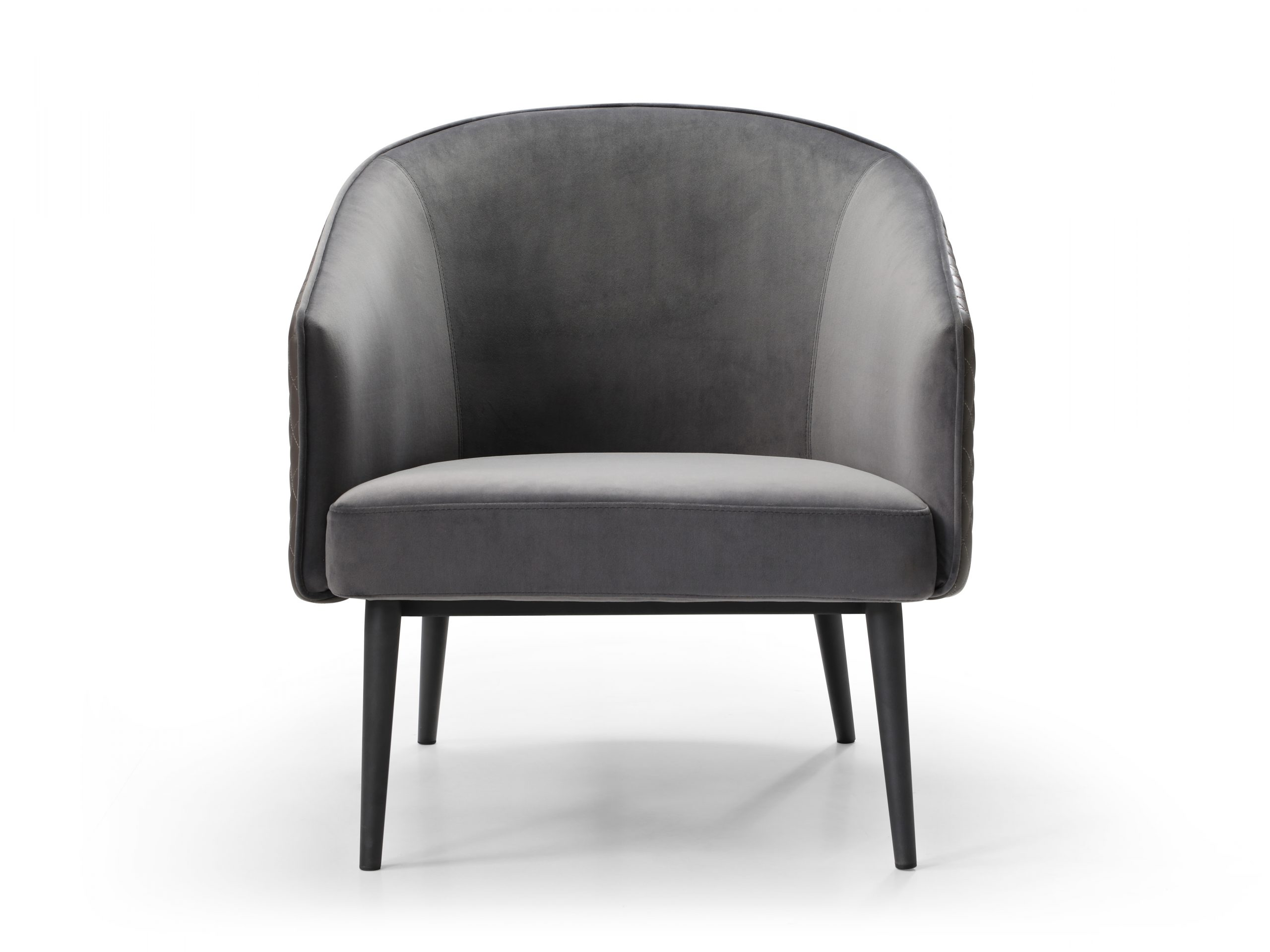 Boston Leisure Chair is available in great velvet fabric. The front, back, and seat are grey velvet fabric and the outside back is grey PU. It makes a great combination with the sanded black coated steel frame base.