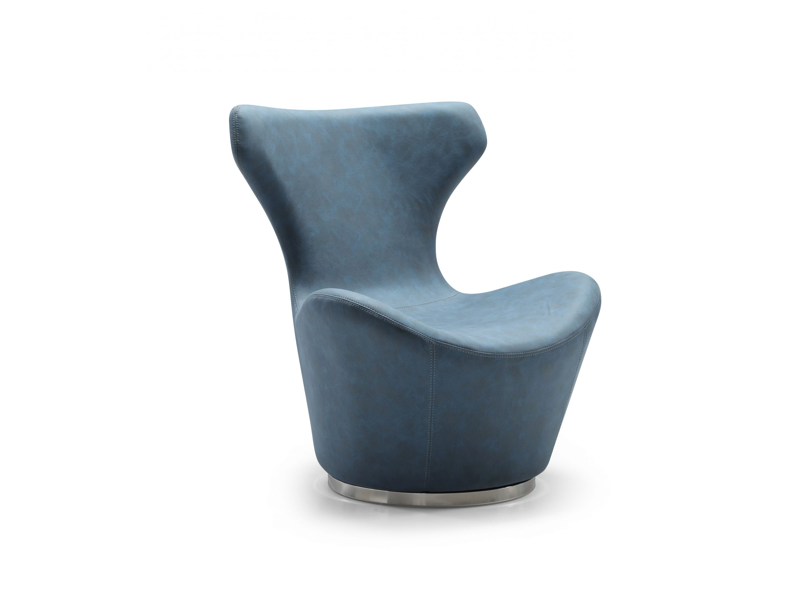 The Easton Swivel Leisure Chair is available in blue or light grey, waterproof fabric. It's complimented with a beautifully polished stainless steel base.