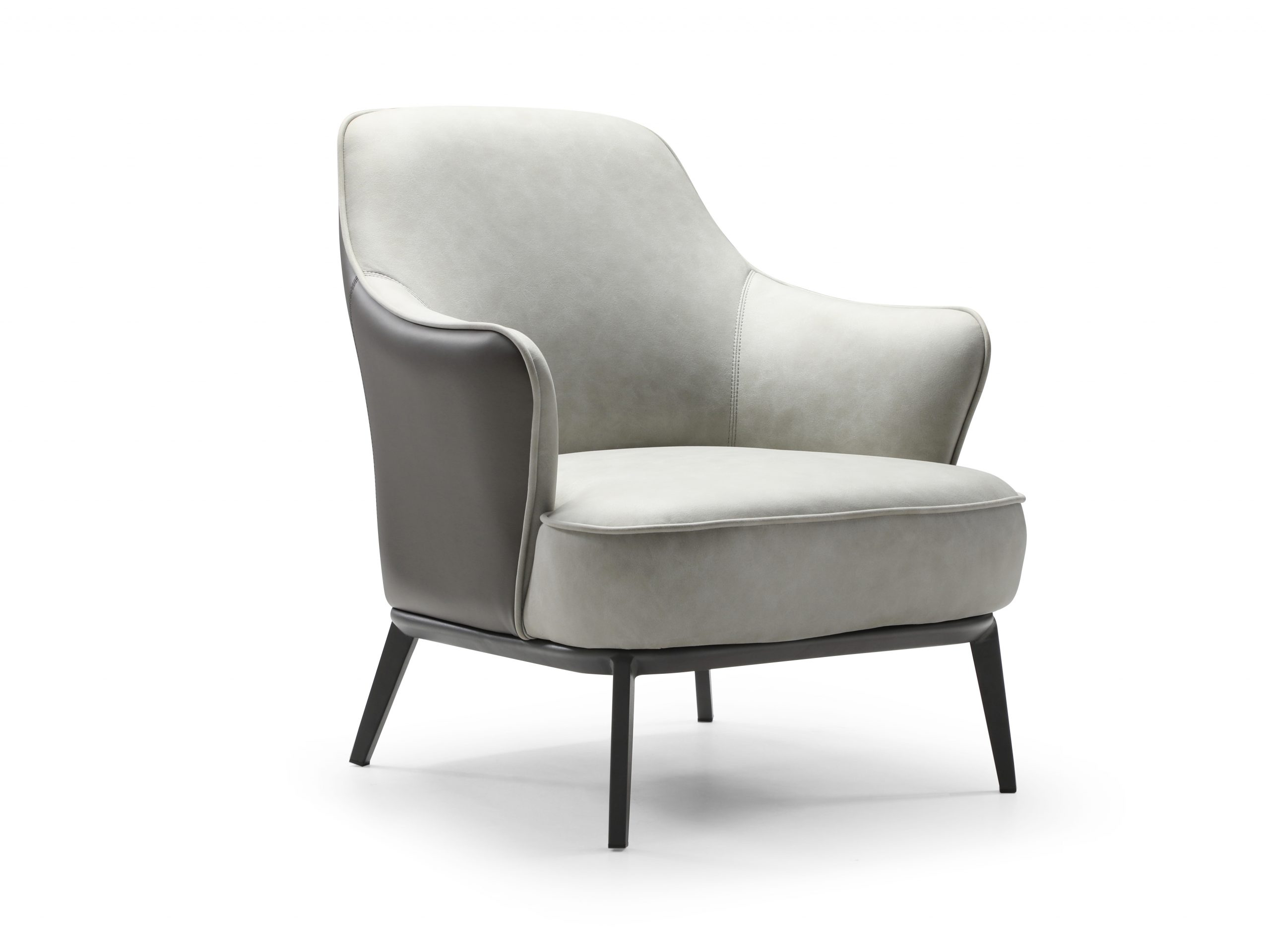 Sunizona Leisure Chair is available in dual material with the front, back and seat being light grey waterproof fabric and the outer back being dark grey faux leather. This dual material accent chair is complimented with a sanded black coated steel frame.